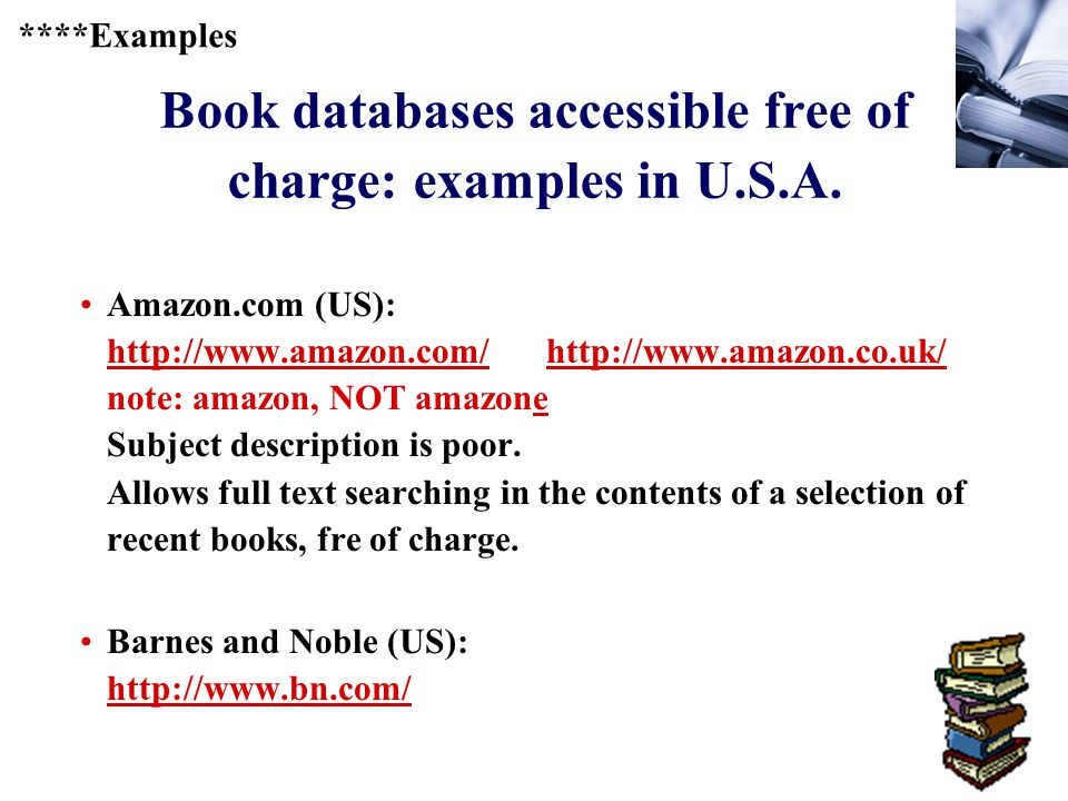 374 Book databases accessible free of charge: examples in U.S.A.