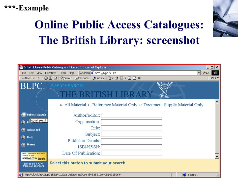 387 Online Public Access Catalogues: The British Library: screenshot ***-Example