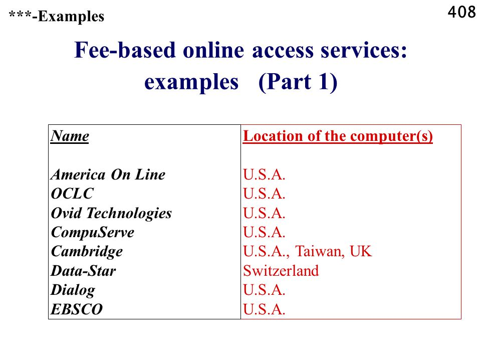 408 Fee-based online access services: examples (Part 1) Location of the computer(s)U.S.A.