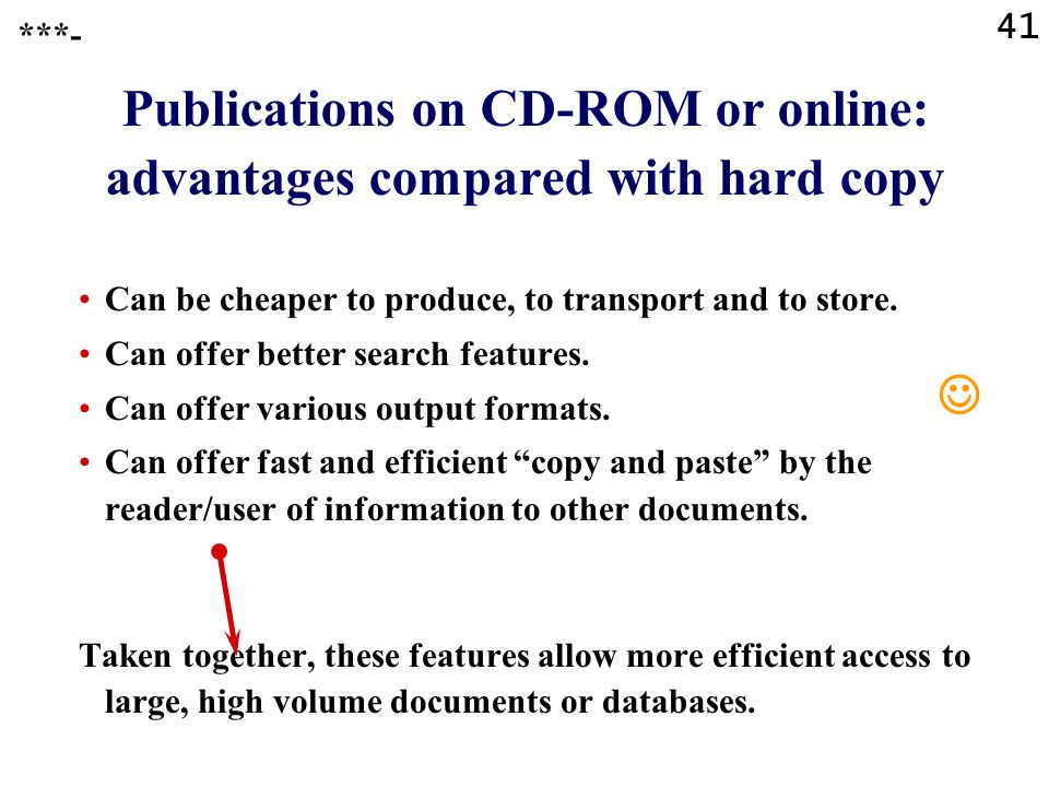41 Publications on CD-ROM or online: advantages compared with hard copy ***- Can be cheaper to produce, to transport and to store.