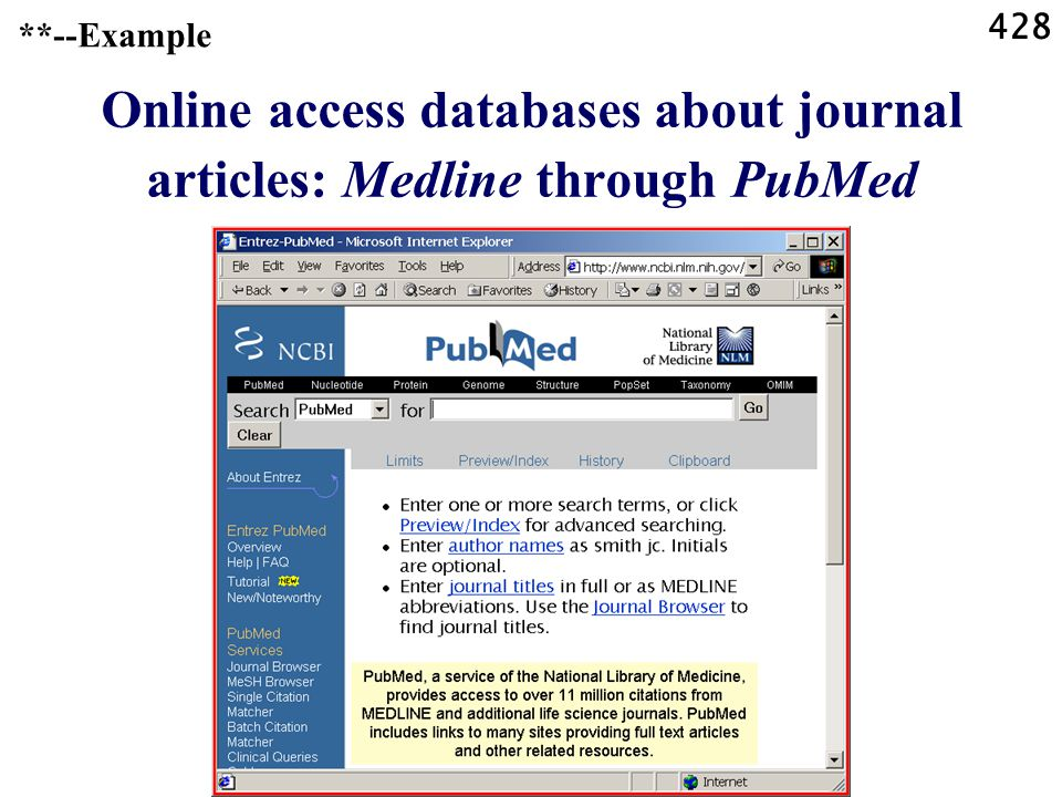 428 Online access databases about journal articles: Medline through PubMed **--Example