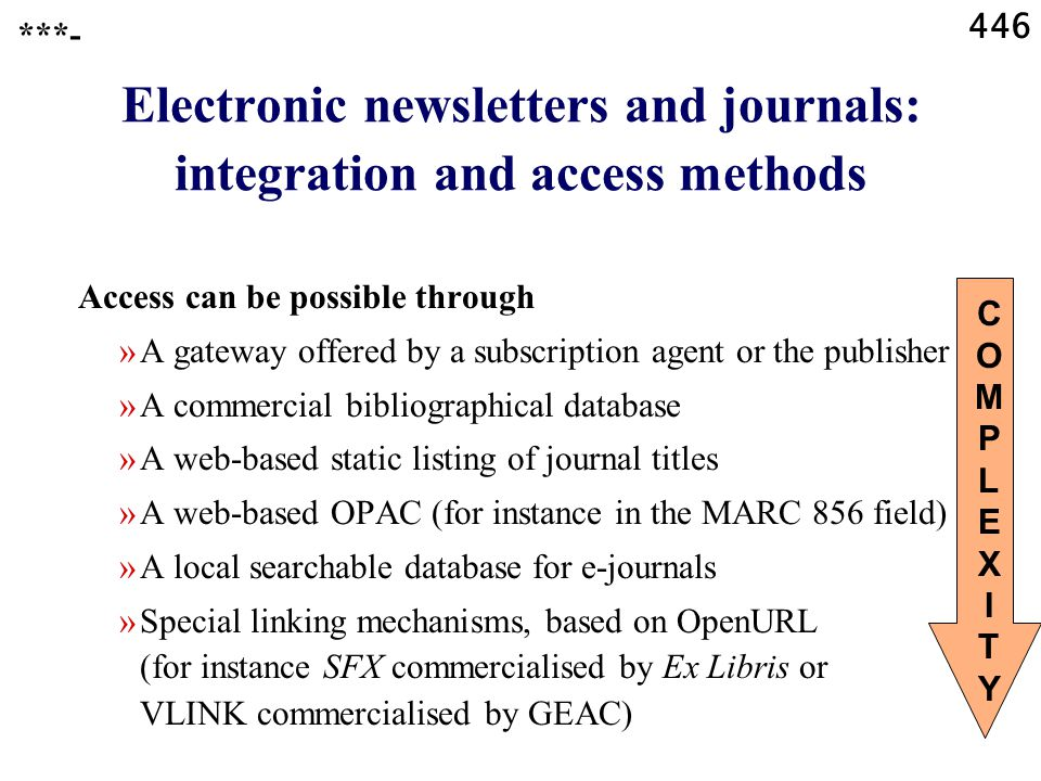446 ***- Electronic newsletters and journals: integration and access methods Access can be possible through »A gateway offered by a subscription agent or the publisher »A commercial bibliographical database »A web-based static listing of journal titles »A web-based OPAC (for instance in the MARC 856 field) »A local searchable database for e-journals »Special linking mechanisms, based on OpenURL (for instance SFX commercialised by Ex Libris or VLINK commercialised by GEAC) COMPLEXITYCOMPLEXITY
