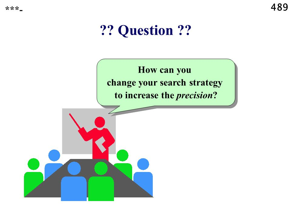 489 Question How can you change your search strategy to increase the precision ***-