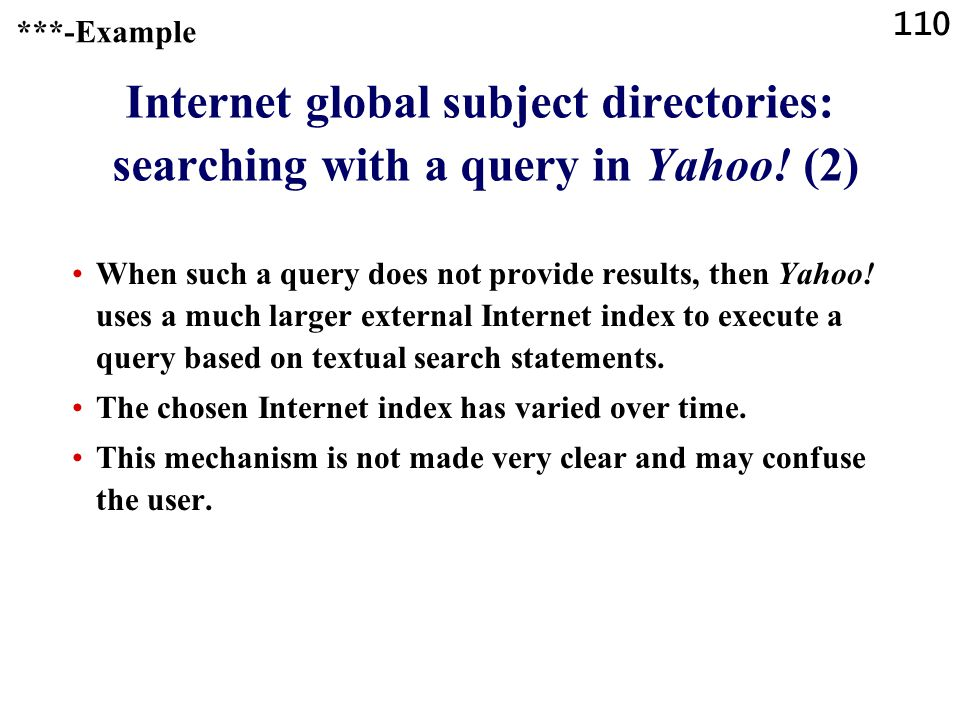 110 Internet global subject directories: searching with a query in Yahoo.