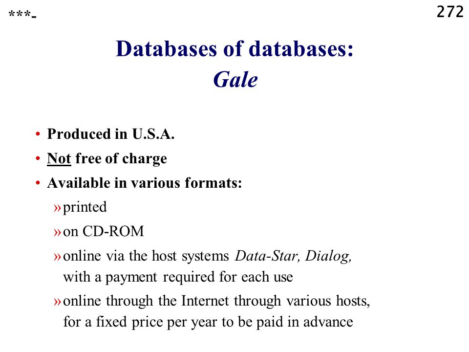 272 Databases of databases: Gale Produced in U.S.A.