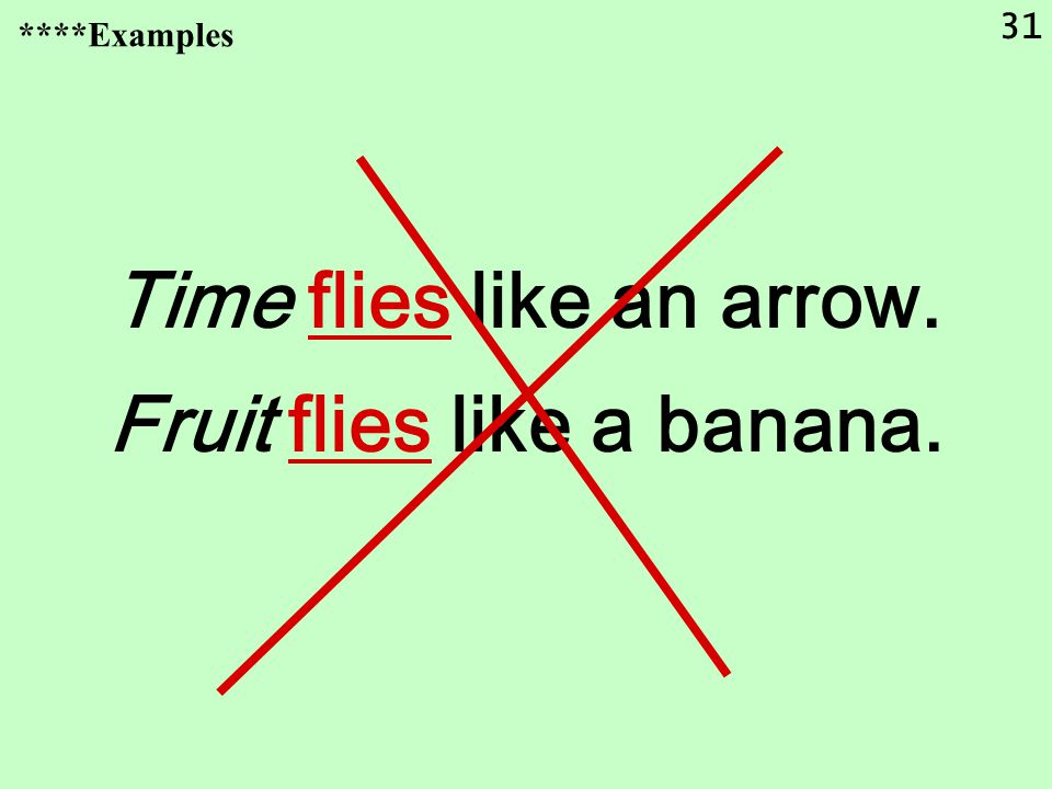 31 Time flies like an arrow. Fruit flies like a banana. ****Examples