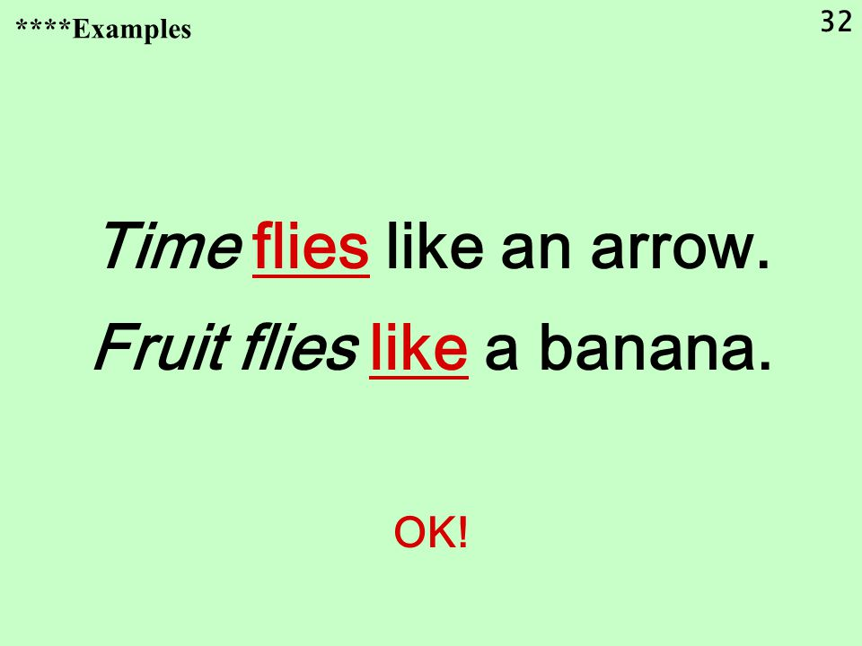 32 Time flies like an arrow. Fruit flies like a banana. OK! ****Examples