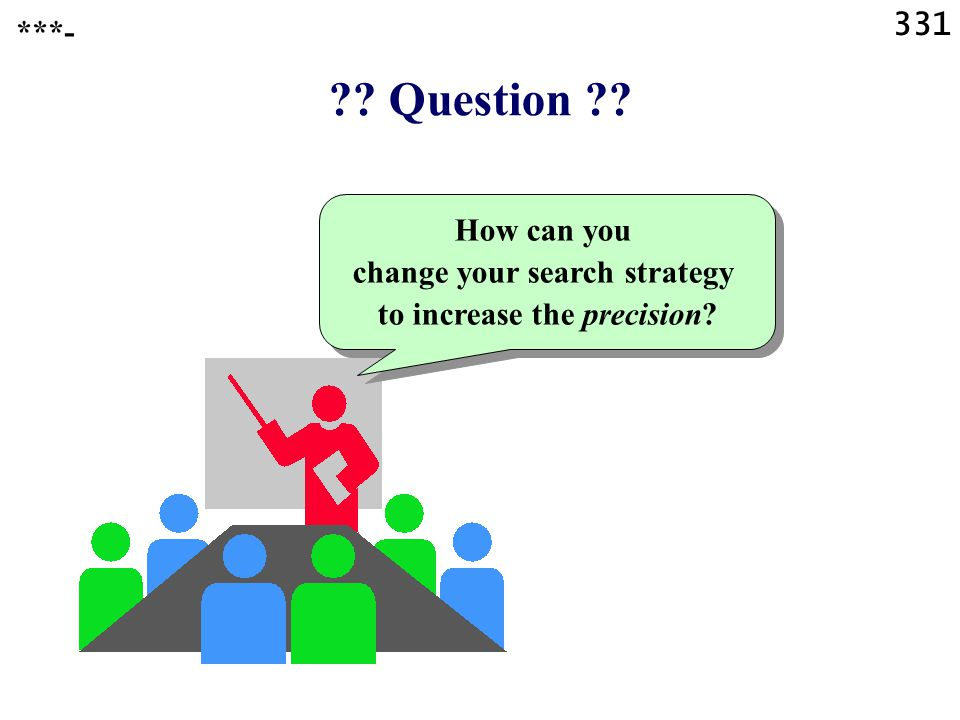 331 Question How can you change your search strategy to increase the precision ***-