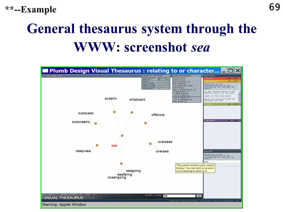 69 General thesaurus system through the WWW: screenshot sea **--Example