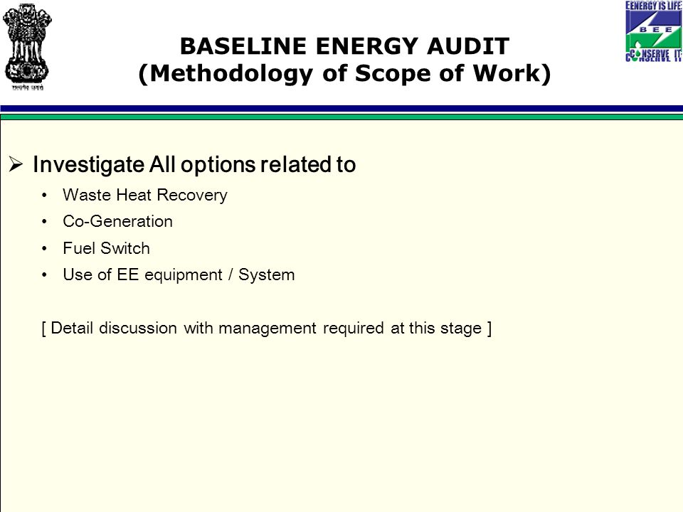 BASELINE ENERGY AUDIT (Methodology of Scope of Work)  Investigate All options related to Waste Heat Recovery Co-Generation Fuel Switch Use of EE equipment / System [ Detail discussion with management required at this stage ]