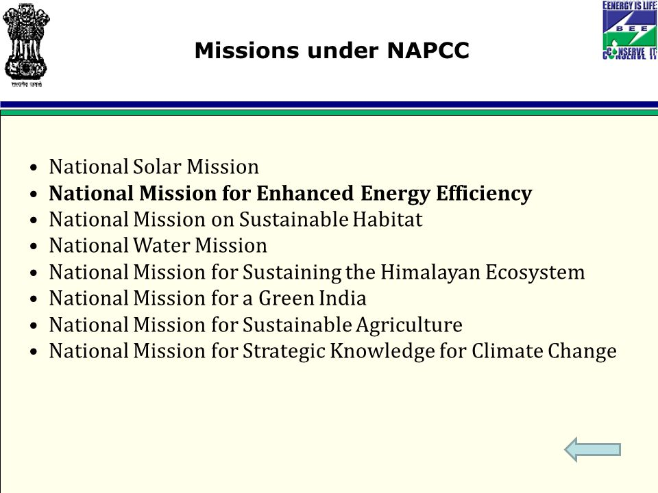 National Solar Mission National Mission for Enhanced Energy Efficiency National Mission on Sustainable Habitat National Water Mission National Mission for Sustaining the Himalayan Ecosystem National Mission for a Green India National Mission for Sustainable Agriculture National Mission for Strategic Knowledge for Climate Change Missions under NAPCC