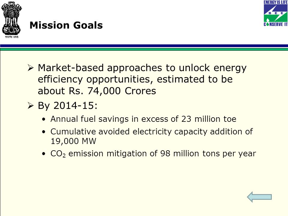 Mission Goals  Market-based approaches to unlock energy efficiency opportunities, estimated to be about Rs.