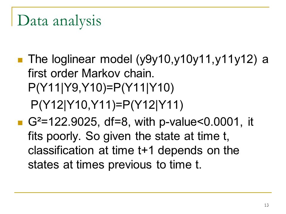 13 Data analysis The loglinear model (y9y10,y10y11,y11y12) a first order Markov chain.