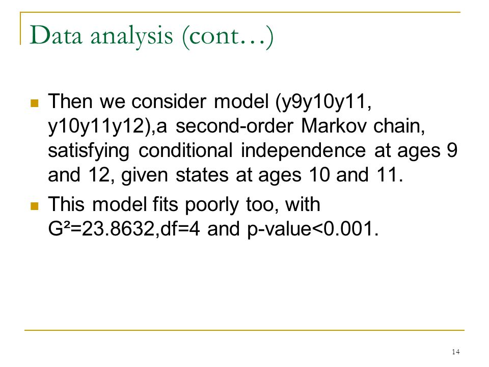 14 Data analysis (cont…) Then we consider model (y9y10y11, y10y11y12),a second-order Markov chain, satisfying conditional independence at ages 9 and 12, given states at ages 10 and 11.