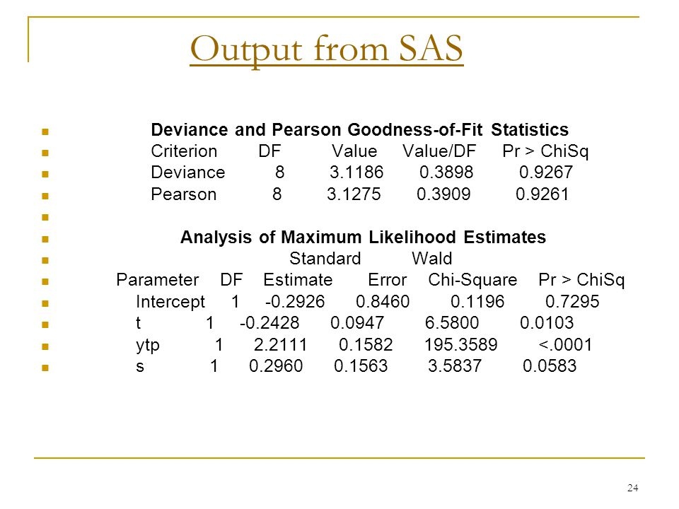 24 Output from SAS Deviance and Pearson Goodness-of-Fit Statistics Criterion DF Value Value/DF Pr > ChiSq Deviance 8 3.1186 0.3898 0.9267 Pearson 8 3.1275 0.3909 0.9261 Analysis of Maximum Likelihood Estimates Standard Wald Parameter DF Estimate Error Chi-Square Pr > ChiSq Intercept 1 -0.2926 0.8460 0.1196 0.7295 t 1 -0.2428 0.0947 6.5800 0.0103 ytp 1 2.2111 0.1582 195.3589 <.0001 s 1 0.2960 0.1563 3.5837 0.0583