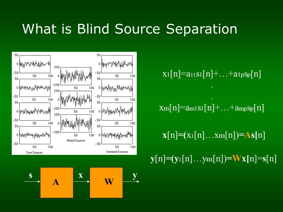 What is Blind Source Separation x 1 [n]=a 11 s 1 [n]+…+a 1p s p [n].