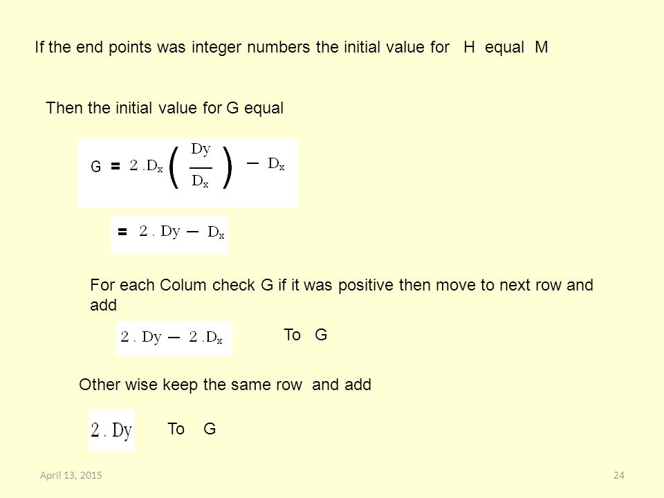 If the end points was integer numbers the initial value for H equal M Then the initial value for G equal For each Colum check G if it was positive then move to next row and add To G Other wise keep the same row and add To G 24April 13, 2015