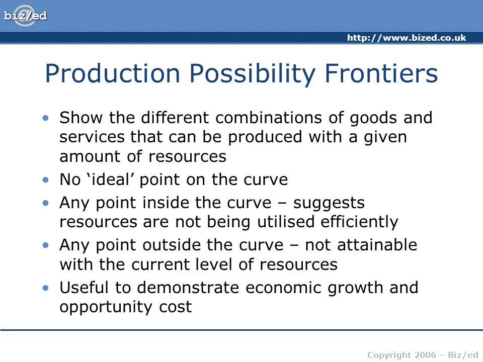 http://www.bized.co.uk Copyright 2006 – Biz/ed Production Possibility Frontiers Show the different combinations of goods and services that can be produced with a given amount of resources No 'ideal' point on the curve Any point inside the curve – suggests resources are not being utilised efficiently Any point outside the curve – not attainable with the current level of resources Useful to demonstrate economic growth and opportunity cost