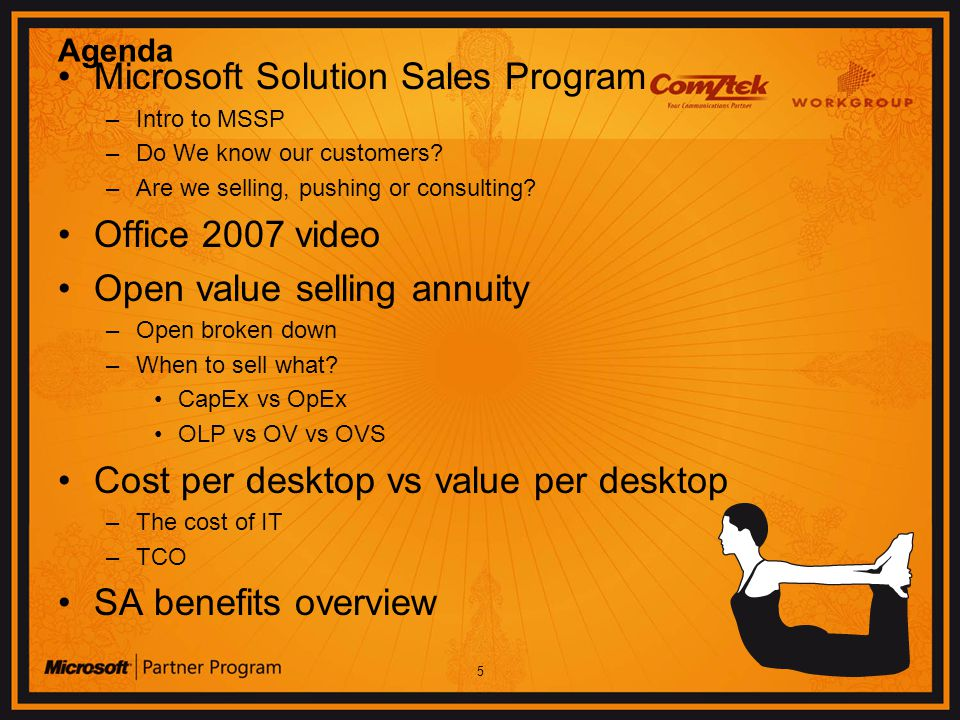 5 Agenda Microsoft Solution Sales Program –Intro to MSSP –Do We know our customers.