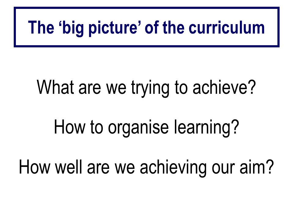 What are we trying to achieve. How to organise learning.