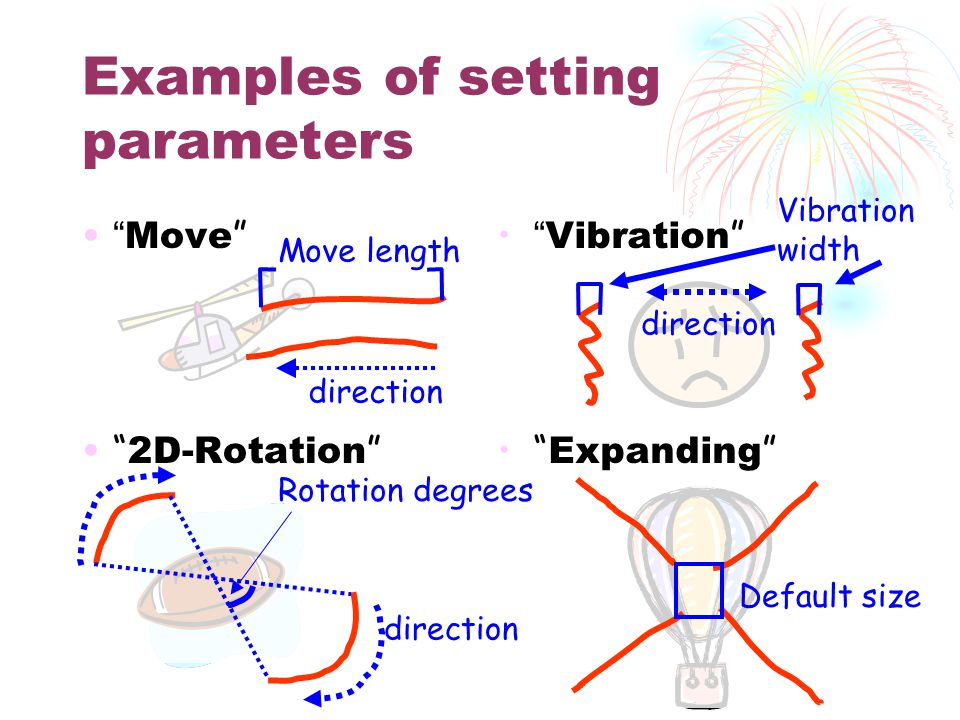 Examples of setting parameters Move 2D-Rotation Vibration Expanding Move length Rotation degrees Default size direction Vibration width