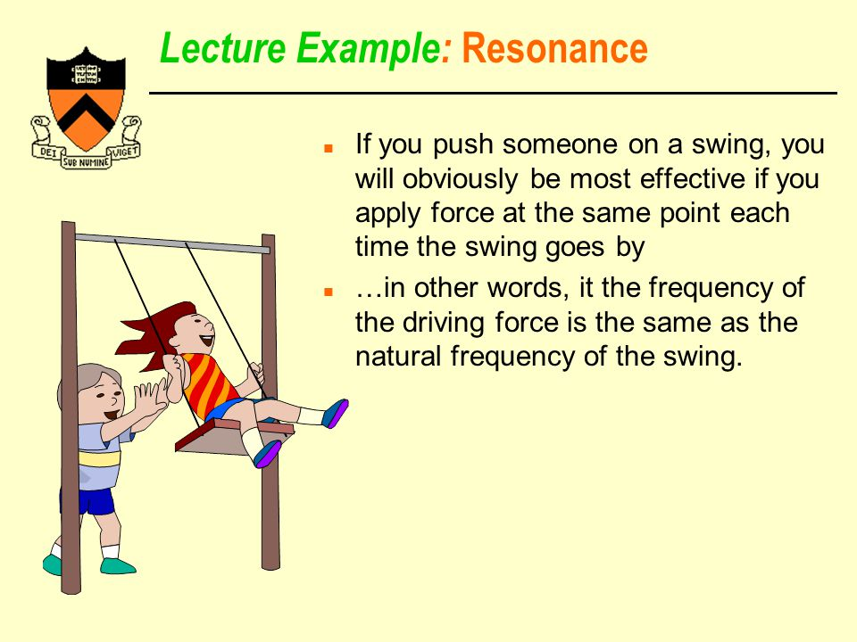 Lecture Example: Resonance n If you push someone on a swing, you will obviously be most effective if you apply force at the same point each time the swing goes by n …in other words, it the frequency of the driving force is the same as the natural frequency of the swing.
