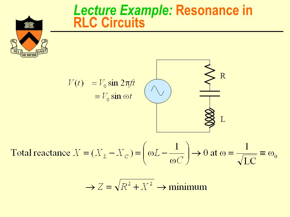 Lecture Example: Resonance in RLC Circuits R L