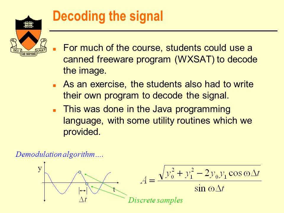 Decoding the signal n For much of the course, students could use a canned freeware program (WXSAT) to decode the image.