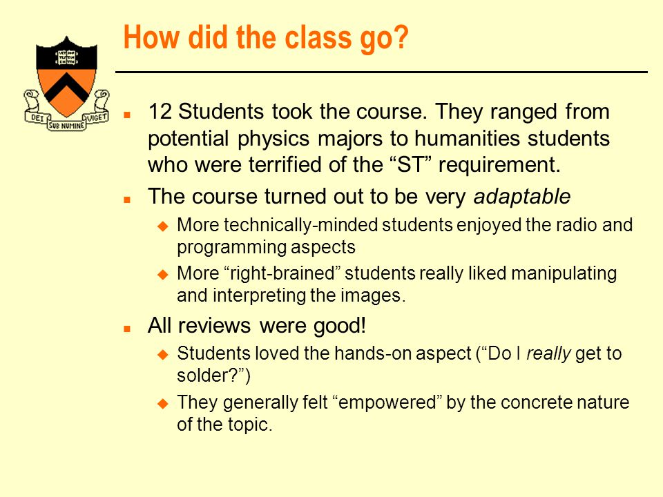 How did the class go. n 12 Students took the course.