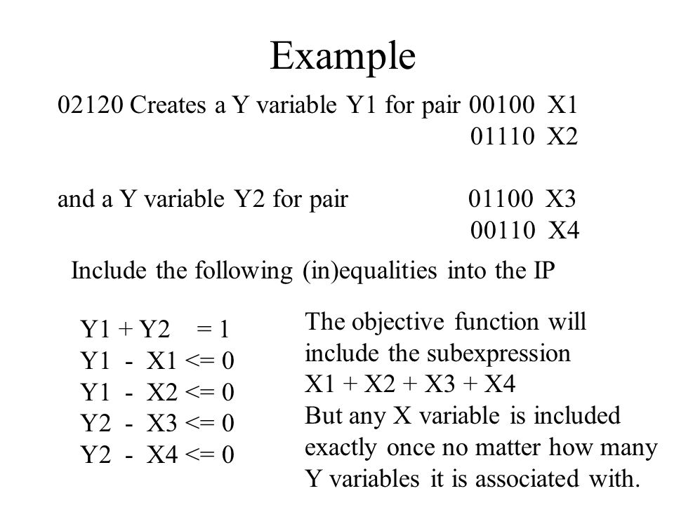 Example 02120 Creates a Y variable Y1 for pair 00100 X1 01110 X2 and a Y variable Y2 for pair 01100 X3 00110 X4 Y1 + Y2 = 1 Y1 - X1 <= 0 Y1 - X2 <= 0 Y2 - X3 <= 0 Y2 - X4 <= 0 Include the following (in)equalities into the IP The objective function will include the subexpression X1 + X2 + X3 + X4 But any X variable is included exactly once no matter how many Y variables it is associated with.