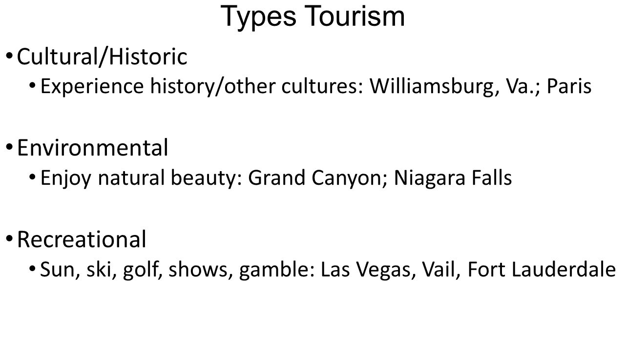 Types Tourism Cultural/Historic Experience history/other cultures: Williamsburg, Va.; Paris Environmental Enjoy natural beauty: Grand Canyon; Niagara Falls Recreational Sun, ski, golf, shows, gamble: Las Vegas, Vail, Fort Lauderdale