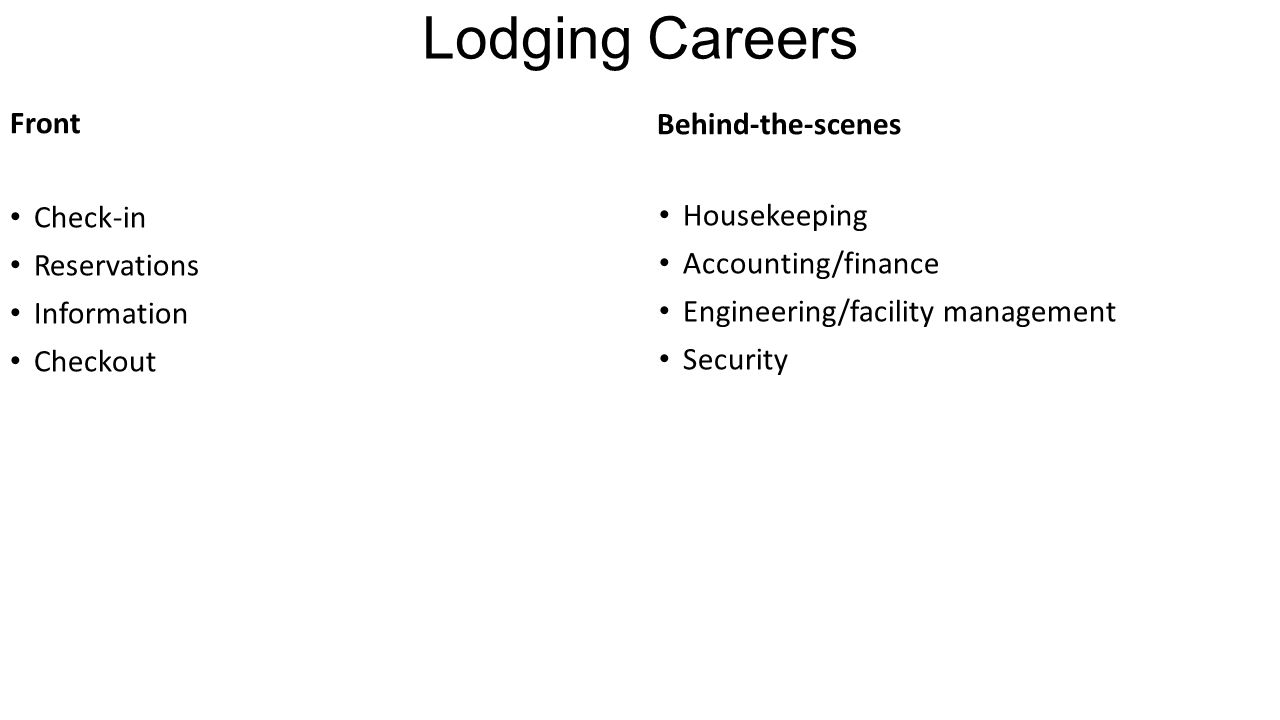 Lodging Careers Front Check-in Reservations Information Checkout Behind-the-scenes Housekeeping Accounting/finance Engineering/facility management Security