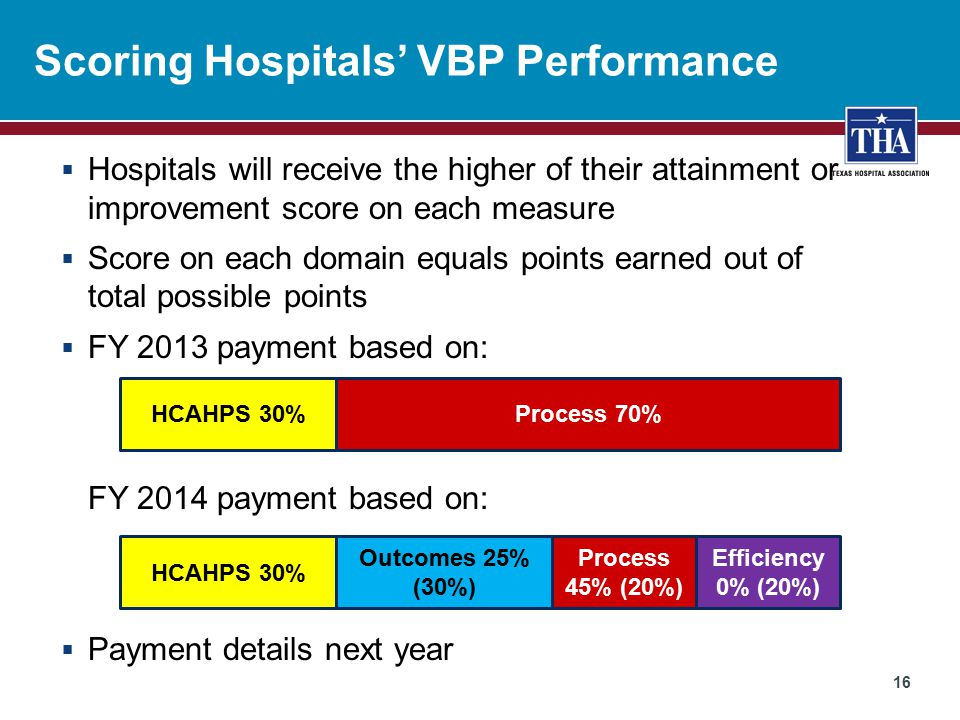 Scoring Hospitals' VBP Performance  Hospitals will receive the higher of their attainment or improvement score on each measure  Score on each domain equals points earned out of total possible points  FY 2013 payment based on: FY 2014 payment based on:  Payment details next year HCAHPS 30%Process 70% Efficiency 0% (20%) HCAHPS 30% Outcomes 25% (30%) Process 45% (20%) 16