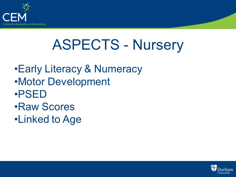 ASPECTS - Nursery Early Literacy & Numeracy Motor Development PSED Raw Scores Linked to Age