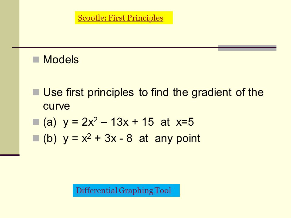 Models Use first principles to find the gradient of the curve (a) y = 2x 2 – 13x + 15 at x=5 (b) y = x 2 + 3x - 8 at any point Differential Graphing Tool Scootle: First Principles