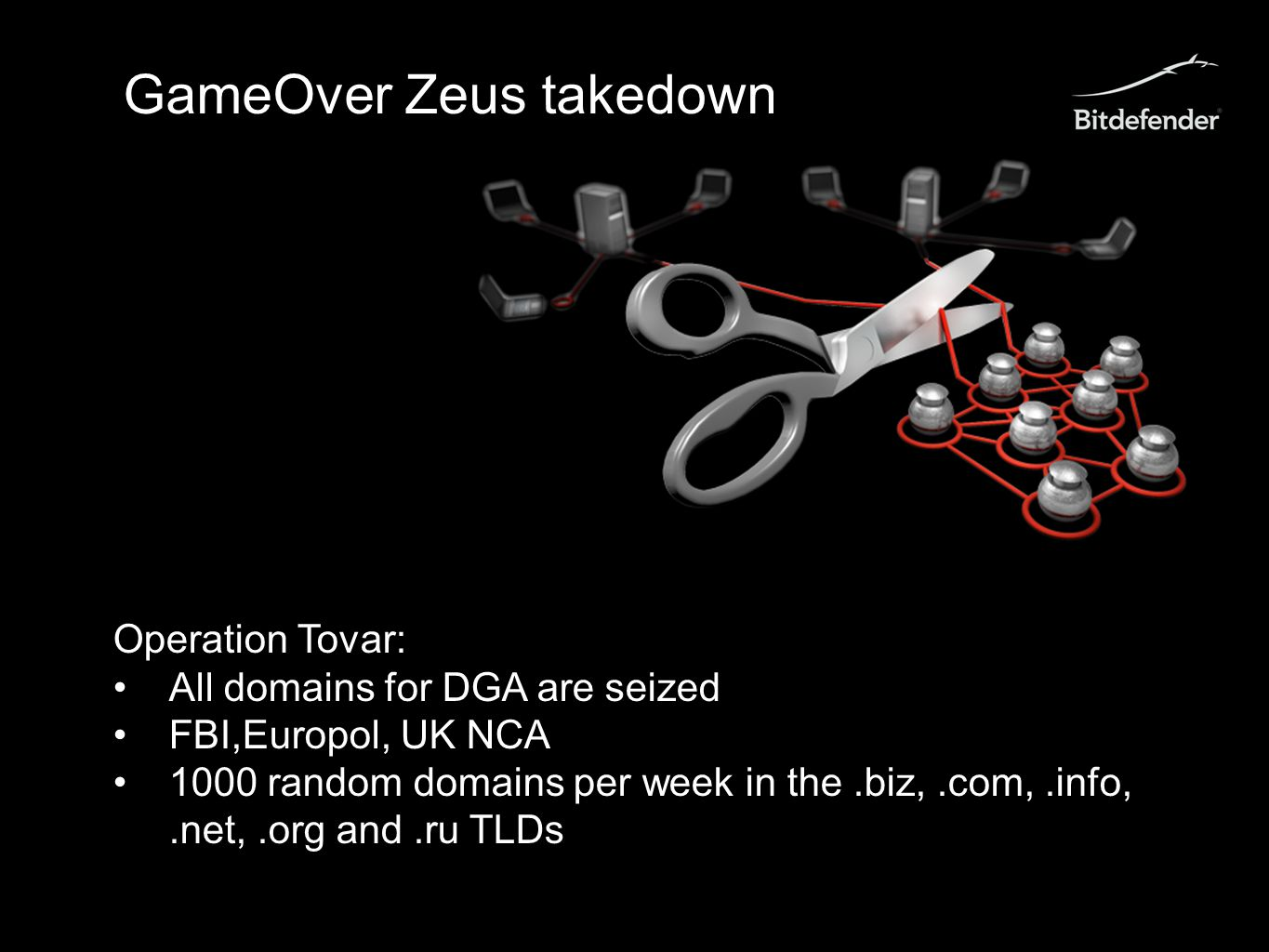GameOver Zeus takedown Operation Tovar: All domains for DGA are seized FBI,Europol, UK NCA 1000 random domains per week in the.biz,.com,.info,.net,.org and.ru TLDs