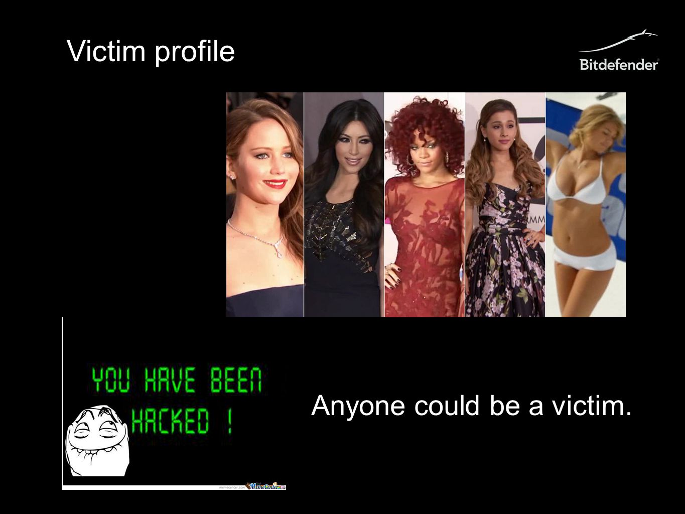 Victim profile Anyone could be a victim.