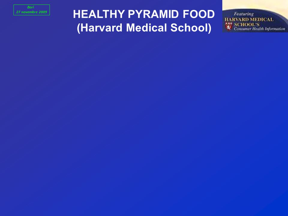HEALTHY PYRAMID FOOD (Harvard Medical School) Bari 27 novembre 2009