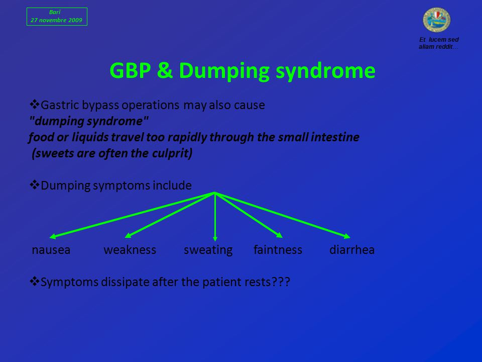 GBP & Dumping syndrome  Gastric bypass operations may also cause dumping syndrome food or liquids travel too rapidly through the small intestine (sweets are often the culprit)  Dumping symptoms include nausea weakness sweating faintness diarrhea  Symptoms dissipate after the patient rests .