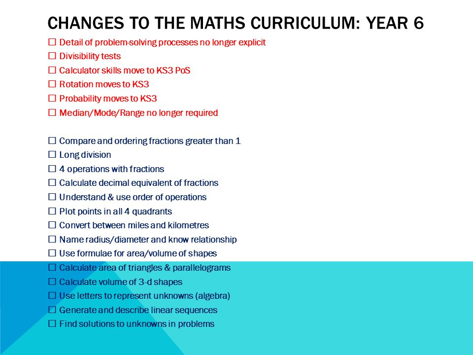 CHANGES TO THE MATHS CURRICULUM: YEAR 6  Detail of problem-solving processes no longer explicit  Divisibility tests  Calculator skills move to KS3 PoS  Rotation moves to KS3  Probability moves to KS3  Median/Mode/Range no longer required  Compare and ordering fractions greater than 1  Long division  4 operations with fractions  Calculate decimal equivalent of fractions  Understand & use order of operations  Plot points in all 4 quadrants  Convert between miles and kilometres  Name radius/diameter and know relationship  Use formulae for area/volume of shapes  Calculate area of triangles & parallelograms  Calculate volume of 3-d shapes  Use letters to represent unknowns (algebra)  Generate and describe linear sequences  Find solutions to unknowns in problems