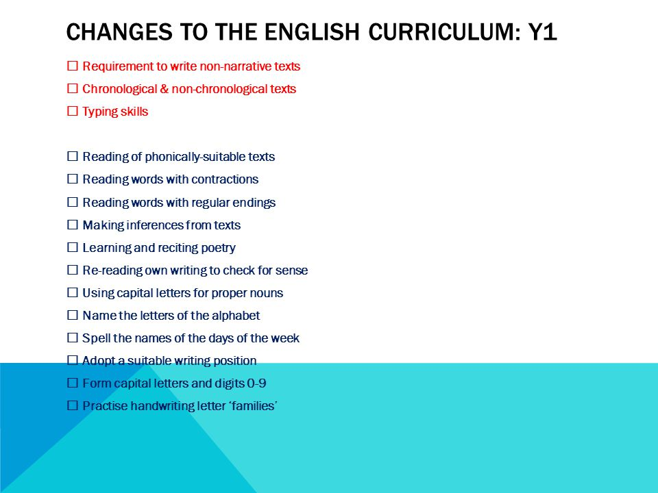 CHANGES TO THE ENGLISH CURRICULUM: Y1  Requirement to write non-narrative texts  Chronological & non-chronological texts  Typing skills  Reading of phonically-suitable texts  Reading words with contractions  Reading words with regular endings  Making inferences from texts  Learning and reciting poetry  Re-reading own writing to check for sense  Using capital letters for proper nouns  Name the letters of the alphabet  Spell the names of the days of the week  Adopt a suitable writing position  Form capital letters and digits 0-9  Practise handwriting letter 'families'