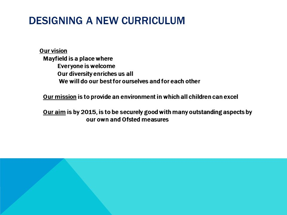 DESIGNING A NEW CURRICULUM Our vision Mayfield is a place where Everyone is welcome Our diversity enriches us all We will do our best for ourselves and for each other Our mission is to provide an environment in which all children can excel Our aim is by 2015, is to be securely good with many outstanding aspects by our own and Ofsted measures