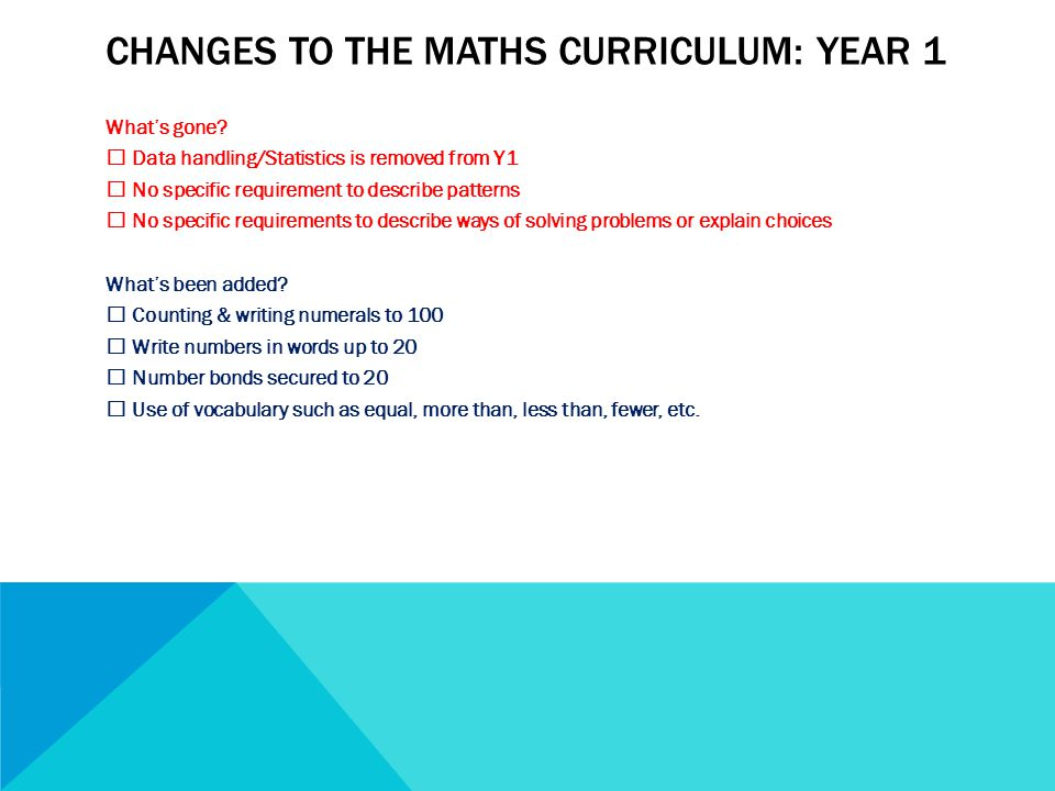 CHANGES TO THE MATHS CURRICULUM: YEAR 1 What's gone.