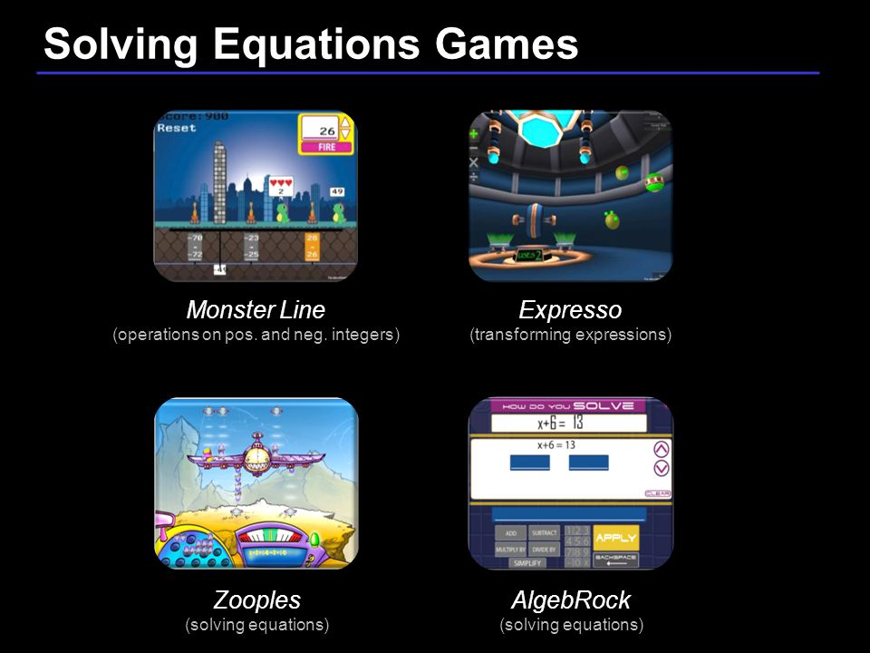 26 / 9 Zooples (solving equations) Expresso (transforming expressions) AlgebRock (solving equations) Solving Equations Games Monster Line (operations on pos.