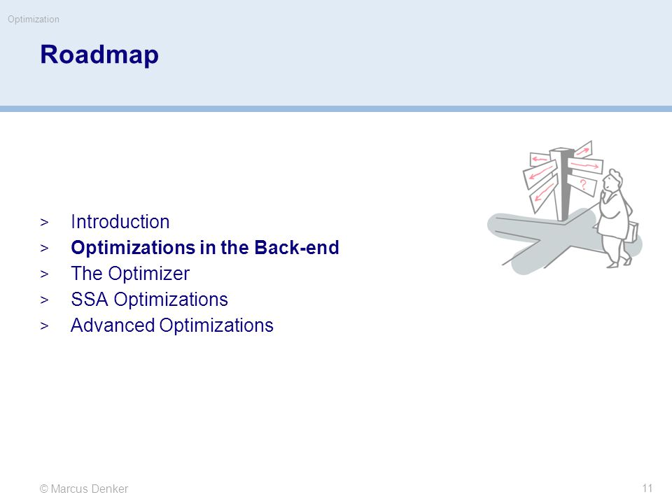 © Marcus Denker Optimization Roadmap  Introduction  Optimizations in the Back-end  The Optimizer  SSA Optimizations  Advanced Optimizations 11