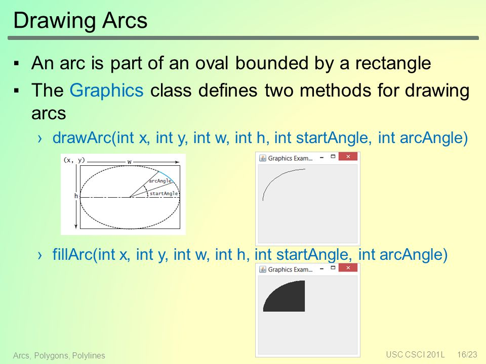 Drawing Arcs ▪An arc is part of an oval bounded by a rectangle ▪The Graphics class defines two methods for drawing arcs ›drawArc(int x, int y, int w, int h, int startAngle, int arcAngle) ›fillArc(int x, int y, int w, int h, int startAngle, int arcAngle) USC CSCI 201L16/23 Arcs, Polygons, Polylines