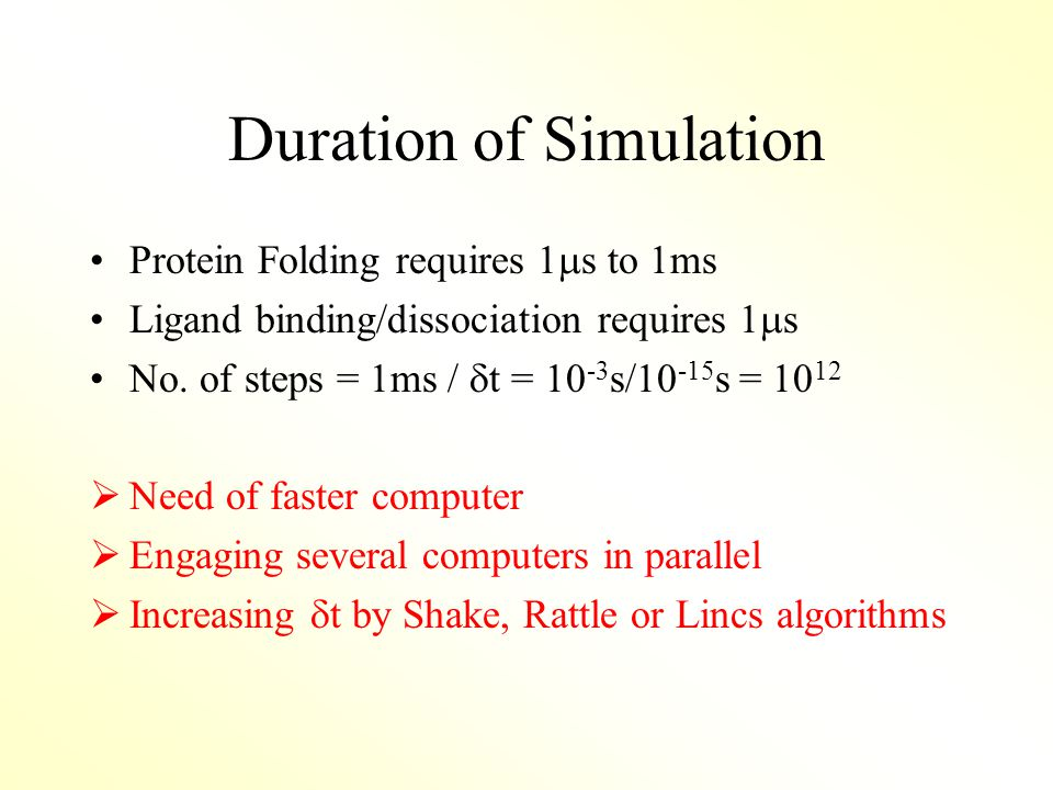 Duration of Simulation Protein Folding requires 1  s to 1ms Ligand binding/dissociation requires 1  s No.