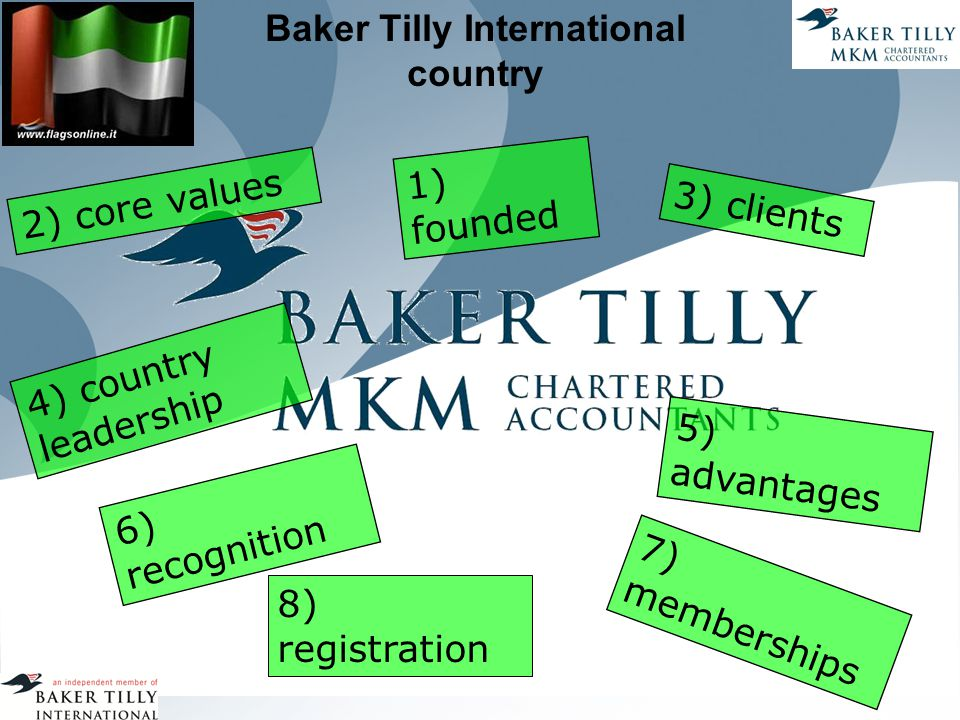 Baker Tilly International country 1) founded 2) core values 3) clients 7) memberships 5) advantages 6) recognition 8) registration 4) country leadership