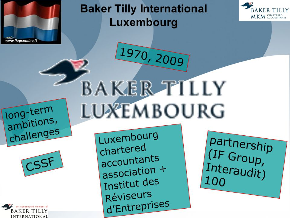 Baker Tilly International Luxembourg 1970, 2009 long-term ambitions, challenges Luxembourg chartered accountants association + Institut des Réviseurs d'Entreprises partnership (IF Group, Interaudit) 100 CSSF