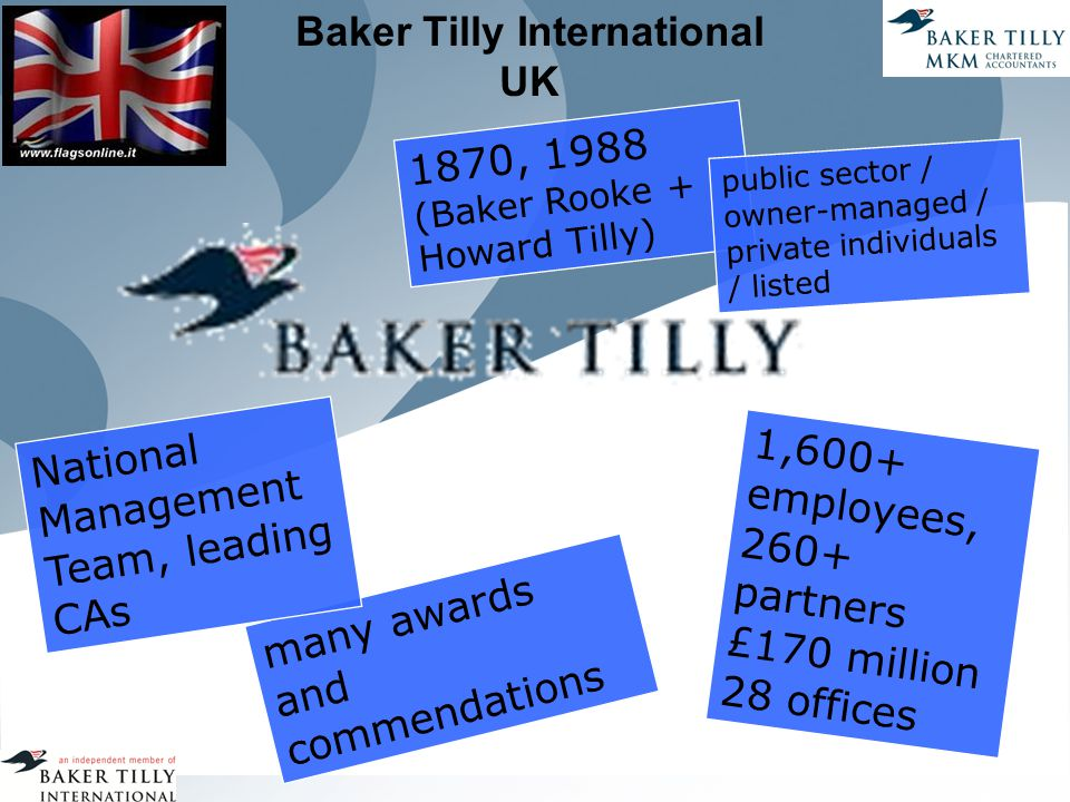 Baker Tilly International UK 1870, 1988 (Baker Rooke + Howard Tilly) public sector / owner-managed / private individuals / listed 1,600+ employees, 260+ partners £170 million 28 offices many awards and commendations National Management Team, leading CAs